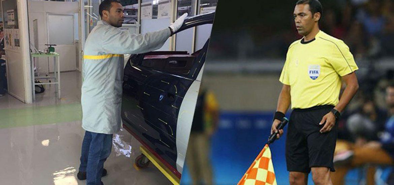 Renault Mitarbeiter als Schiedsrichterassistent bei der Fußball-WM